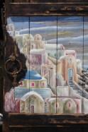 Oia- obraz namalowany na okiennicy