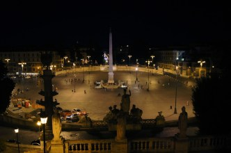 Rzym nocą- Piazza del Popolo