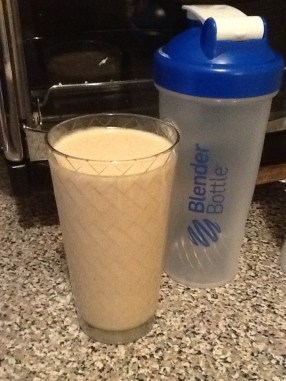 Peanut Butter Banana Shake. Good for post-exercise recovery and as a meal replacement.