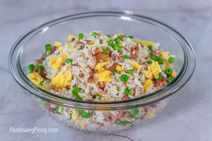ham and egg fried rice with green peas recipe-2