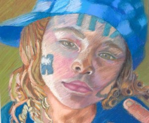 Pastel of Kiara closeup color contrast
