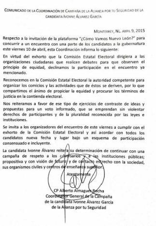 El comunicado emitido por la coordinación de la campaña de Ivonne Álvarez