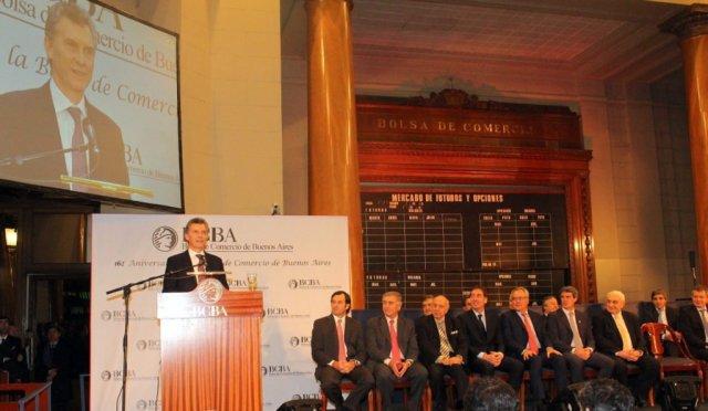 Macri asistió al acto por el 162° aniversario de la Bolsa de Comercio de Buenos Aires