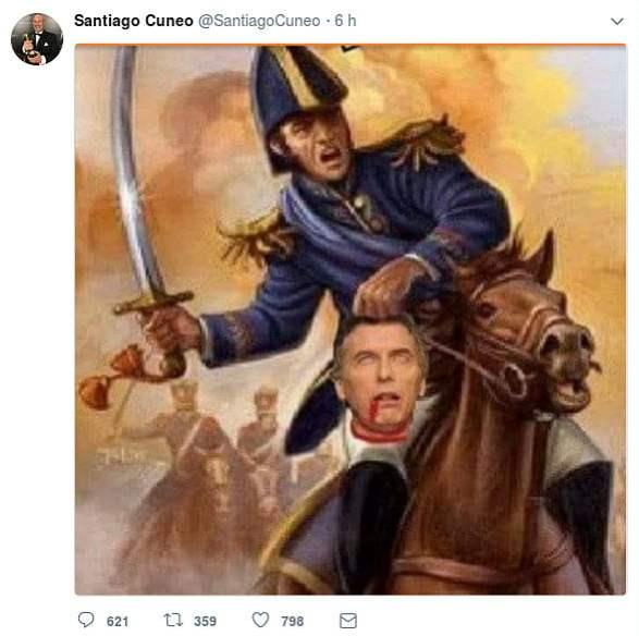 Denuncian a Santiago Cúneo por amenazar al presidente Macri en #Twitter