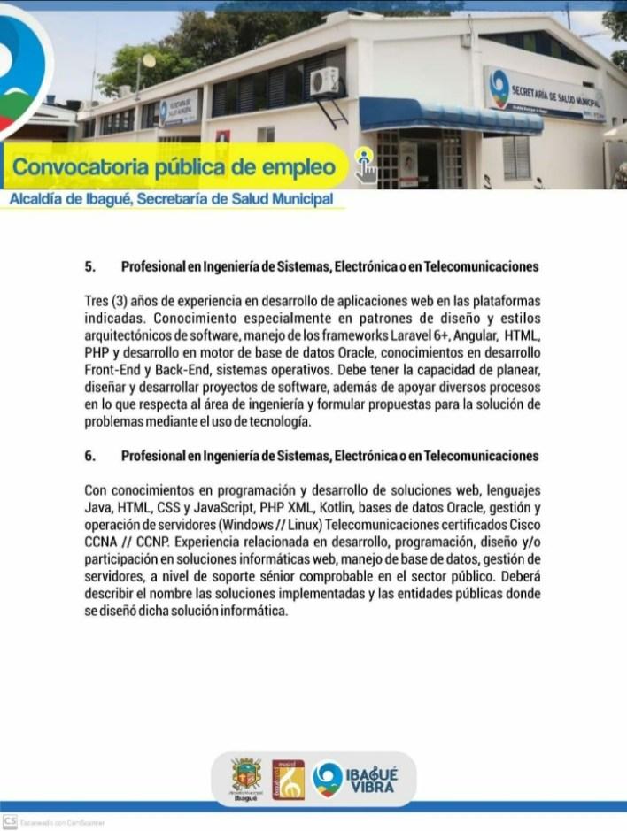 ¡Si hay trabajo! Alcaldía de Ibagué abre convocatoria de empleo. 3