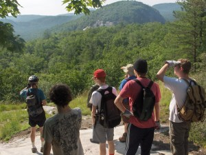 Volunteers enjoy the view