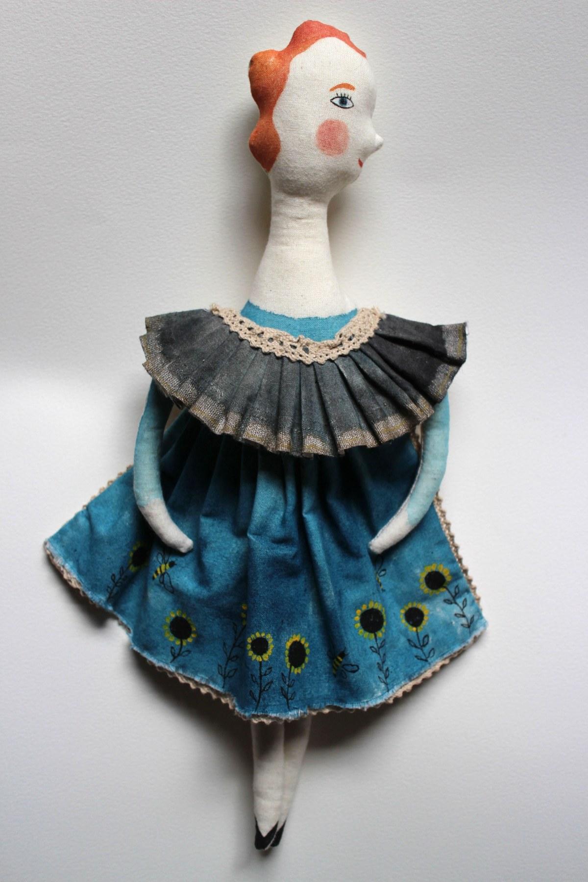 fabric doll girl sunflowers
