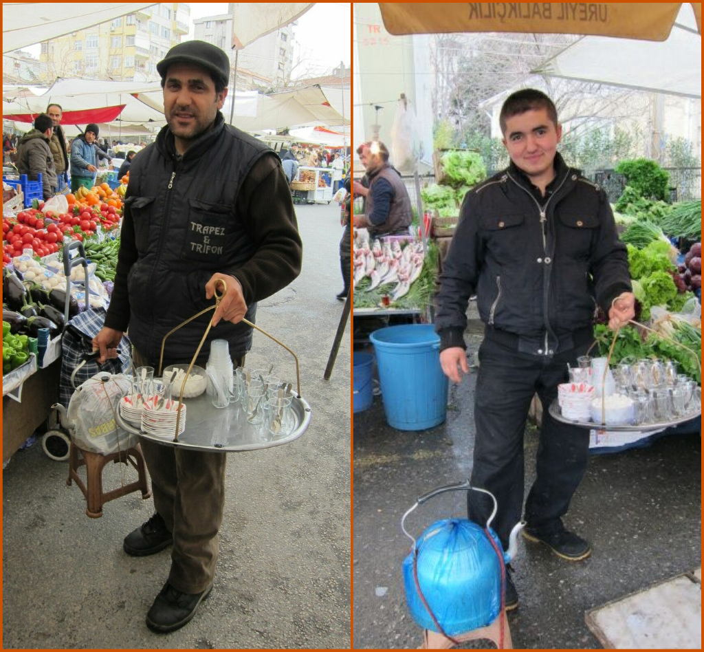 These are market çaycıs: they offer tea to the stallholders
