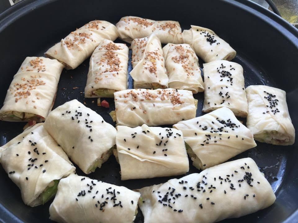 Haluski Borek in the pan