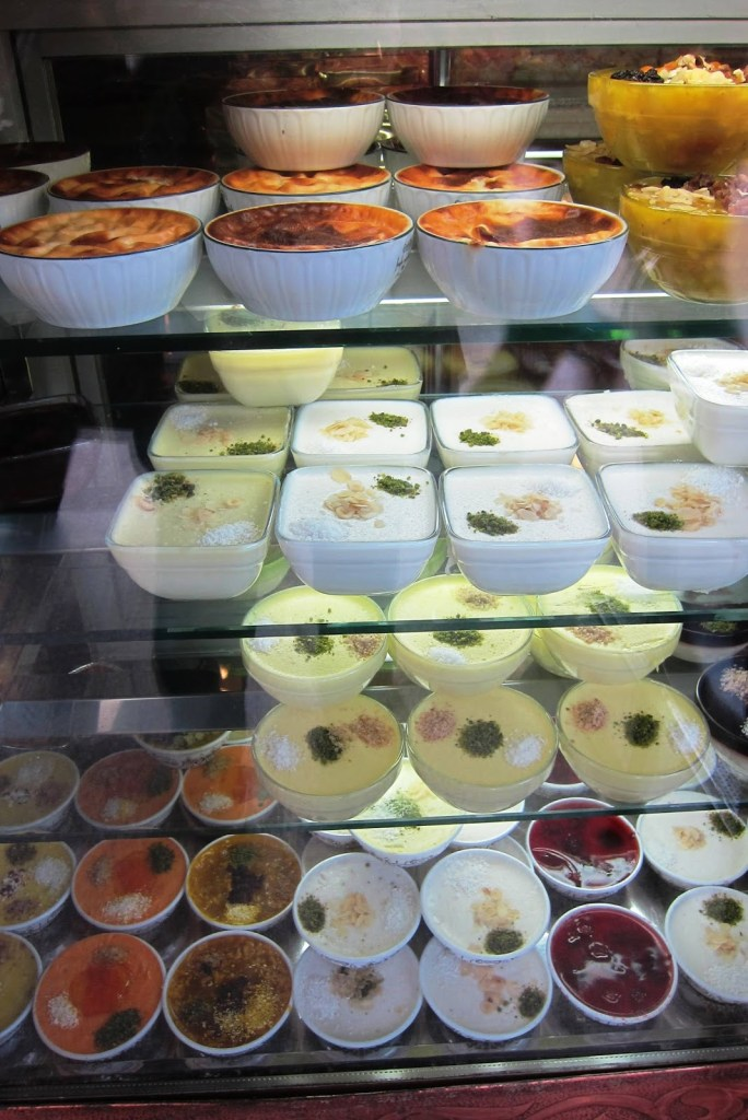variety of milk puddings