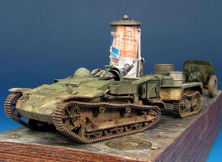 Tracteur Chenillete UE Avec remorque et canon Hochtkiss 25 mm. Automne du 1939.