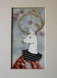 LA BALLATA NOTTURNA DELLE FARFALLE - acquerello, collage, pastelli