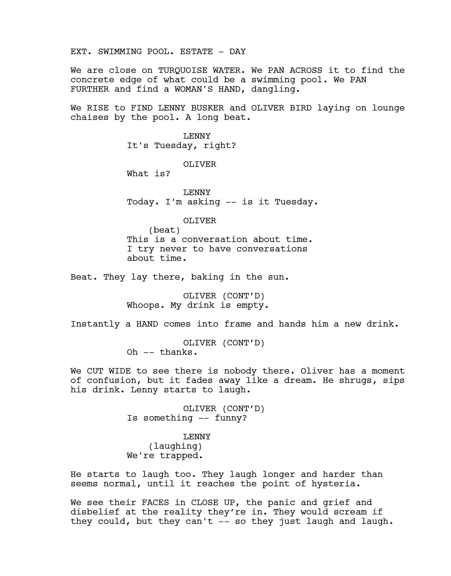 modello spoglio della sceneggiatura