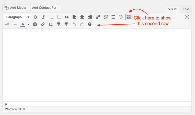 Screenshot of WordPress's visual text editor with arrows pointing to where you click to drop down more formatting.