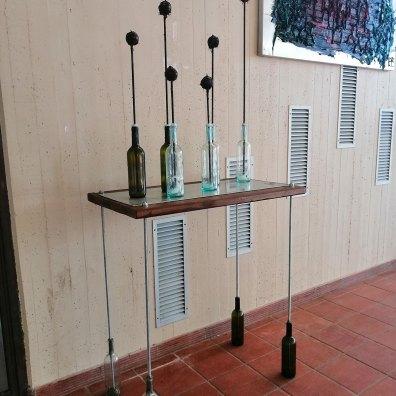 AL VINO bottiglie vetro barre filettate legnoferro