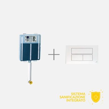 Cassetta a doppio scarico (3 – 6/9 lt) in polietilene ad alta densità compatibile con tutti i vasi a pavimento con sistema di sanificazione integrato. Valvola di scarico con azionamento a cavo e valvola di carico a galleggiante silenzioso. Rivestita con pannelli e rete anti-condensa. Placca di comando e componenti inclusi.