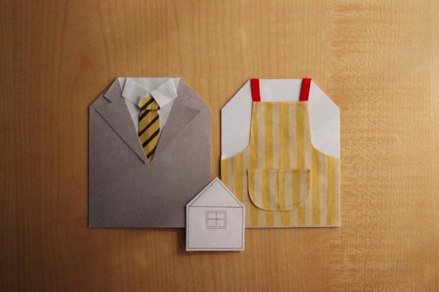 折り紙で夫婦を表現した画像