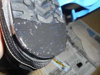 靴底補修材塗布完了裏側