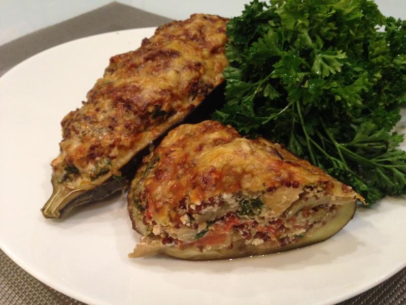 Aubergines farcies au Quinoa rouge