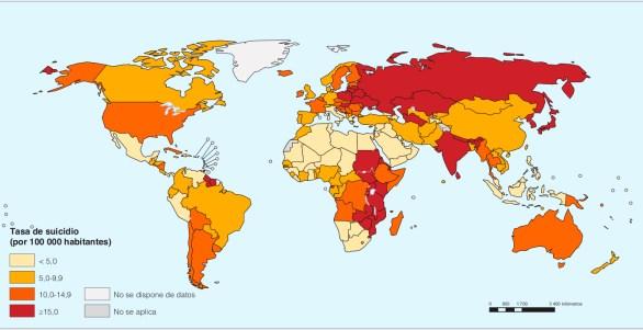 Tasas de suicidio en el mundo