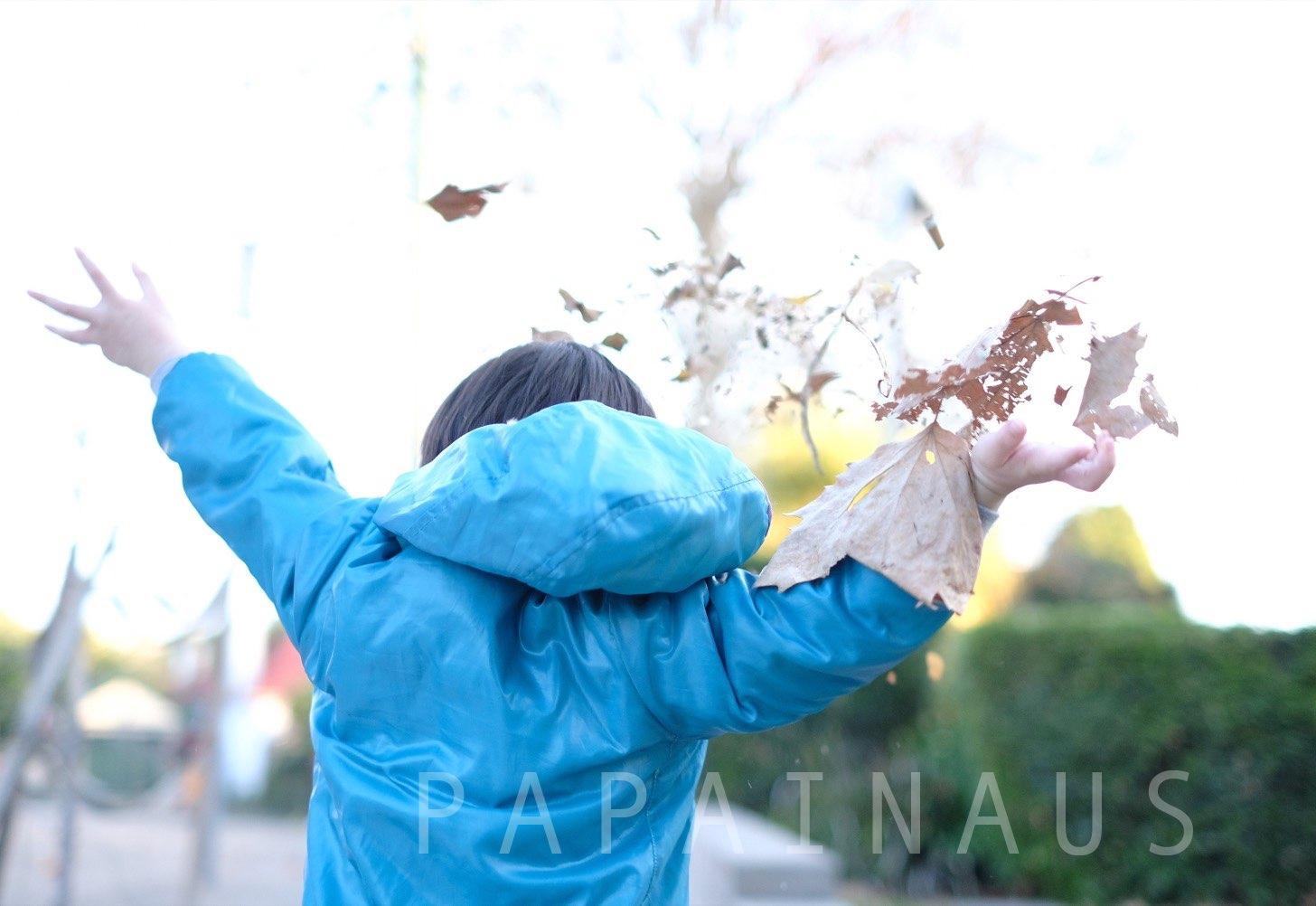 xt20 落ち葉と遊ぶ子供