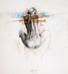 'Atlas XX', Pencil, ink, colour pencil and acrylic on paper, 41cm.X38cm., 2012