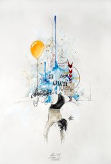 'Atlas XXII', Pencil, ink, colour pencil, marker and acrylic on paper, 39cm.X57cm., 2012