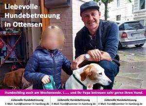 Tochter und Papa Hundesitting