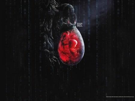 le foetus du futur dans Matrix