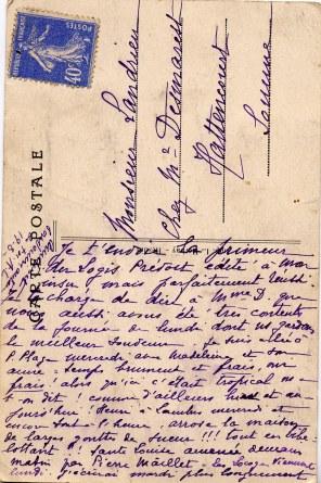 Verso de la carte postale du Logis Prévost à Hesdin