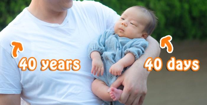 生後40日の息子と40歳の親父。