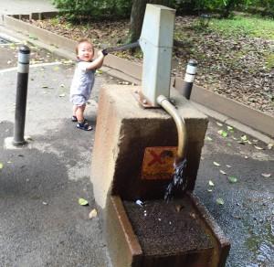 世田谷公園の井戸。大人の真似をして、ポンプで水を出せるようになりました。