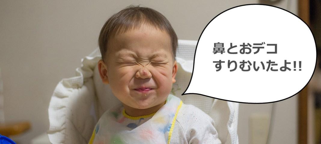 1歳11ヶ月、道を歩いてるだけで転んで鼻とおデコをすりむく。2歳の誕生日にストライダーはまだ早いか。