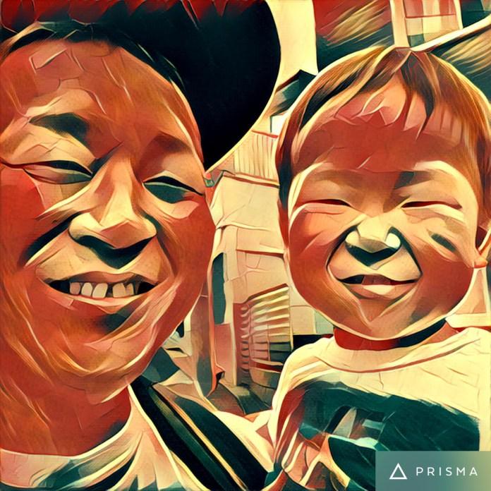 父と子。笑顔