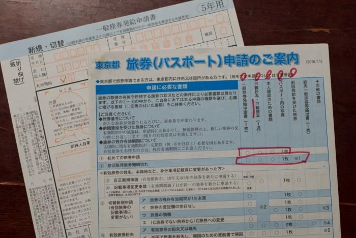 パスポート申請書類