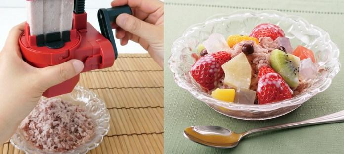 世界一固いアイスキャンデー「井村屋あずきバー」を、ふわっと食感のかき氷にして子供に食べさせらるマシン(2,800円)