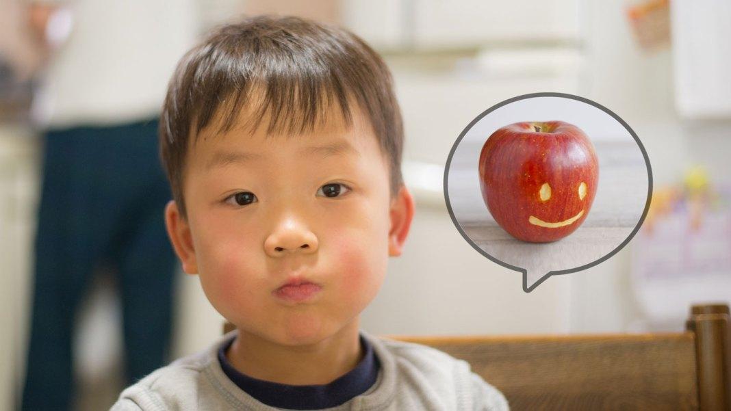 りんご病になって、ほっぺが赤くなった4歳の息子