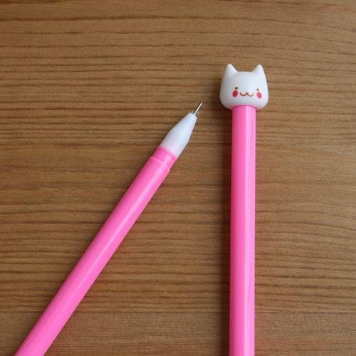 Bolígrafo gato blanco (rosa fuerte)