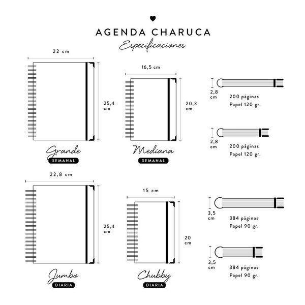 Tamaños agenda Charuca académica 2018 - 2019