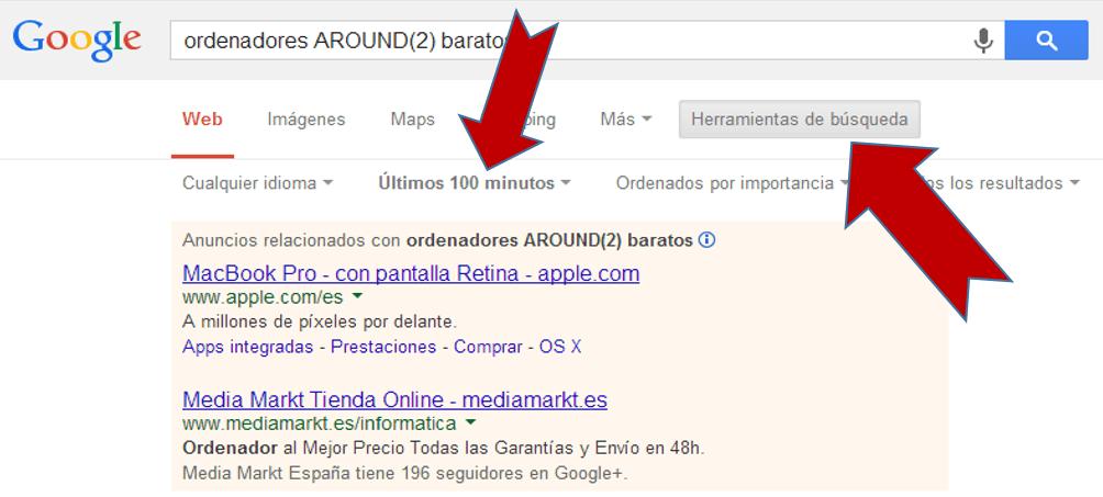 la búsqueda de google en tiempo real
