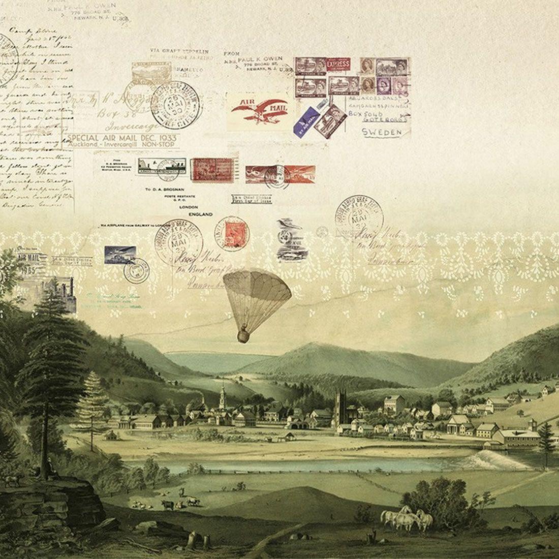 Mural Stamps del catálogo Journeys de Tres tintas
