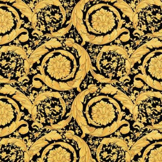 935834 resize - Papel pintado Versace con rosetones en oro sobre fondo negro Ref. 93583-4