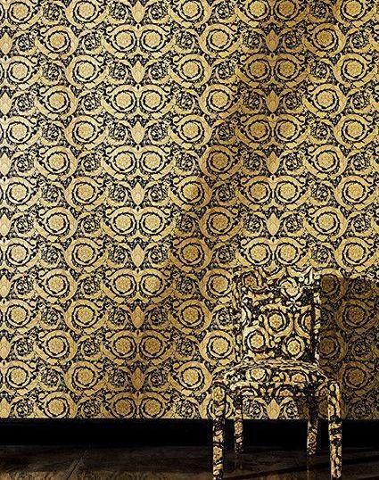 cache 36153141 - Papel pintado Versace con rosetones en oro sobre fondo negro Ref. 93583-4