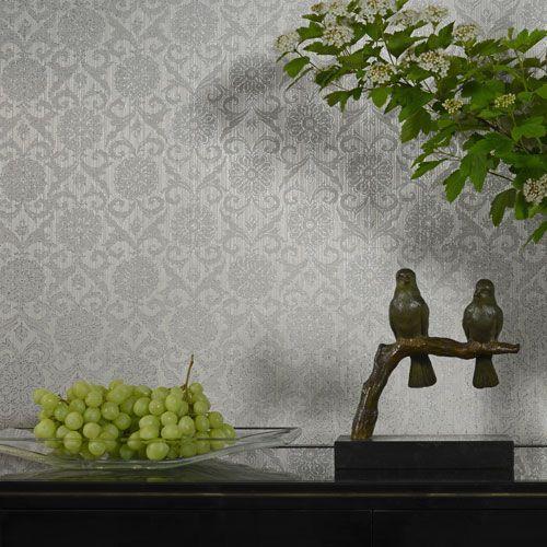 br7large - Revestimiento mural adamascado color gris de la colección Brocades Ref. BR5974