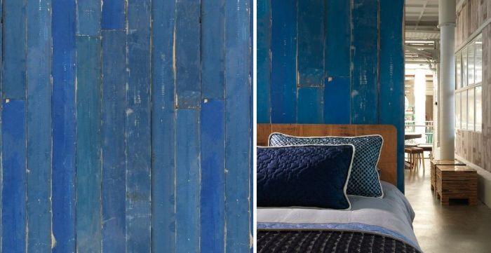 Mural de pared en madera azul