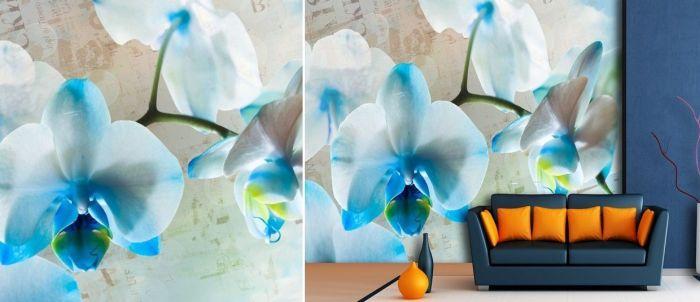 Mural de pared con orquídeas