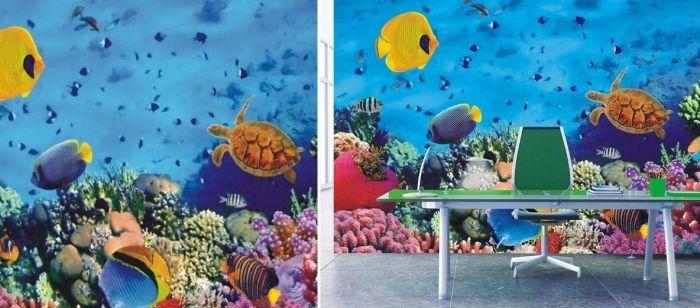 Mural de fondo del mar