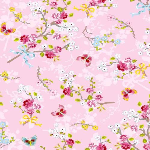 Papel para pared rosa brillante con flores