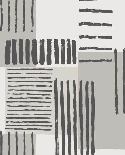 Papel para paredes. Papel pintado de rayas en colores grises