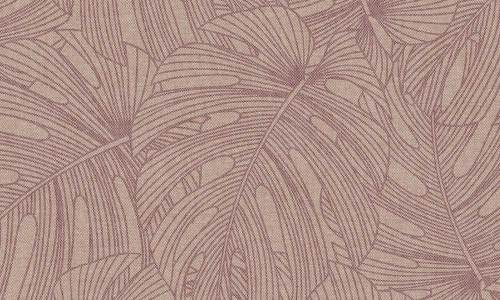Papel para pared de hojas tropicales en color vino o granate